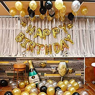 OSG Crafters Happy Birthday Letter Foil Balloon Set of Golden + Pack of 60 HD Metallic Balloons (Gold,Black and Silver)