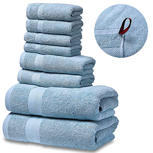 SEMAXE Luxury Bath Towel Set. Hotel & Spa Quality. 2 Large Bath Towels, 2 Hand Towels, 4 Washcloths. Premium Collection Bathroom Towels. Soft, Plush and Highly Absorbent.