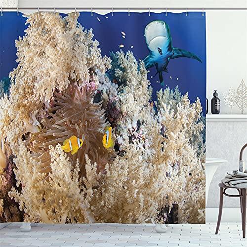 Azul mundo bajo el agua amarillo coral tiburón amarillo pescado cortina ducha cortina baño decoración impermeable tela