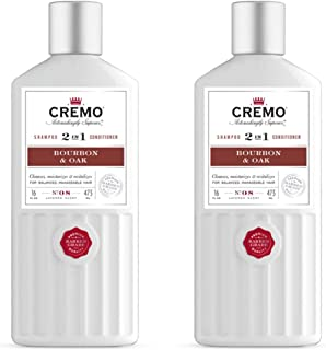 Cremo Barber Grade Bourbon & Oak 2-in-1 Shampoo & Conditioner, Cleans and Conditions All Hair Types in One Step, 16 Oz (2-...