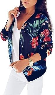Women's Classic Floral Print Bomber Jacket Zipper Long Sleeve Short Coat L Black