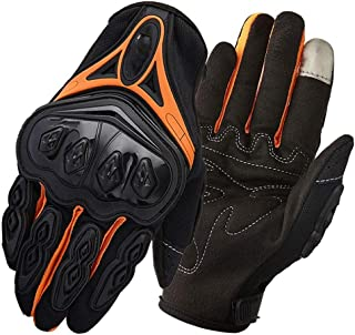 JCCOZ Touch Screen Gloves Motorcycle Gloves Thin Section Breathable Riding Anti-Fall All-Finger Waterproof Windproof Touch Screen Gloves (Color : Orange, Size : L)