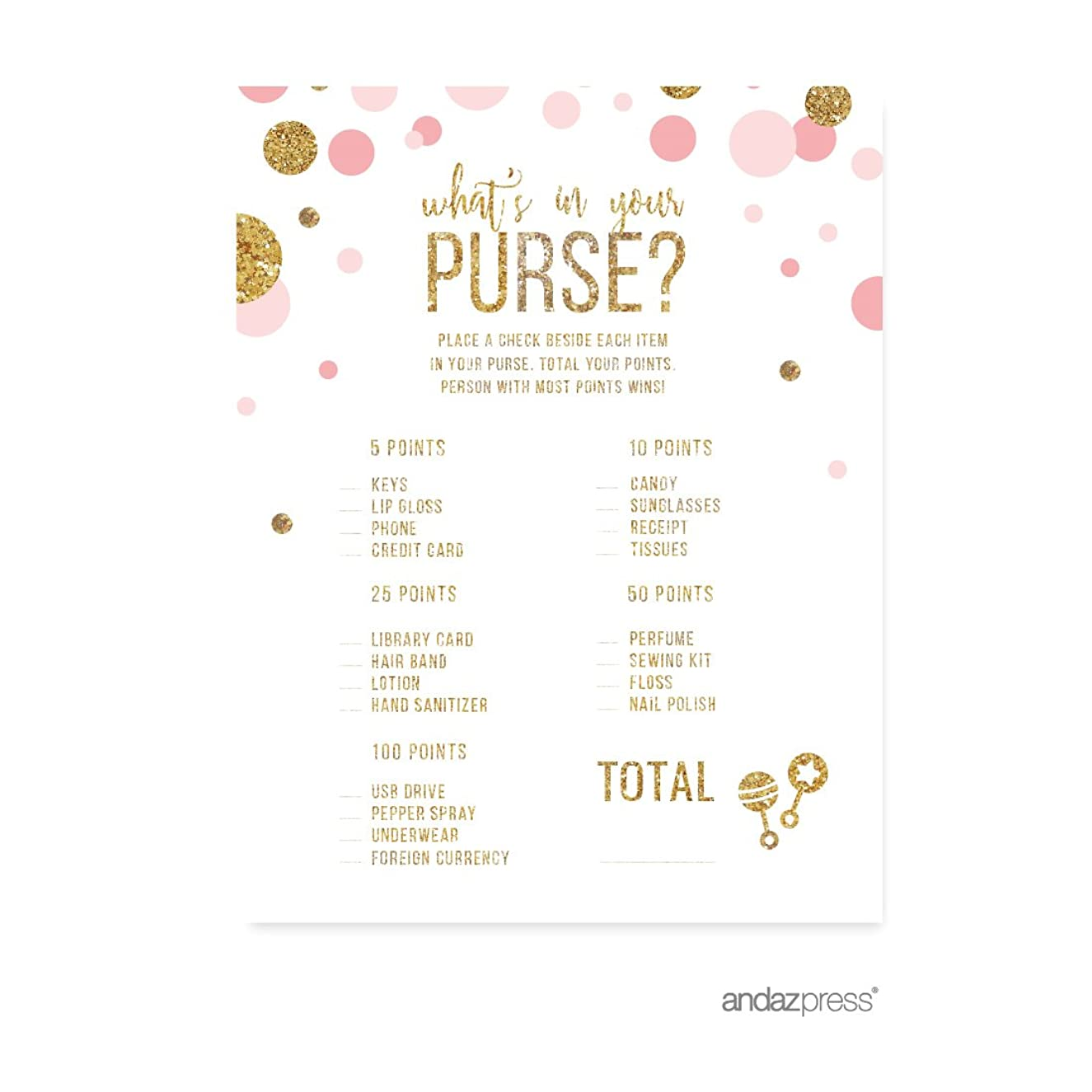 Andaz Press Blush Pink Gold Glitter Girl Baby Shower Party Collection, Games, Activities, Decorations, What's in Your Purse? Game Cards, 20-pack