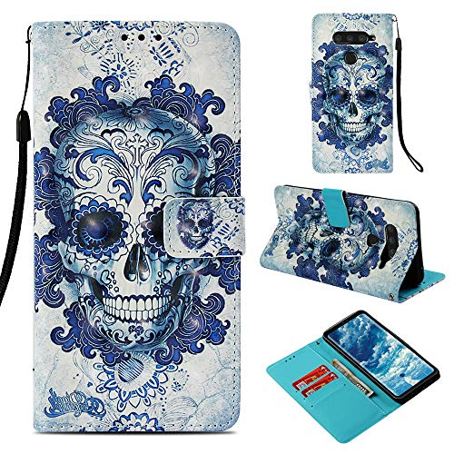 DodoBuy LG V50 ThinQ Hülle 3D Flip PU Leder Schutzhülle Stand Handy Tasche Brieftasche Wallet Hülle Cover für LG V50 ThinQ - Schädel Blau