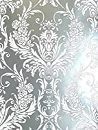 Debona Damask Medina Flock Effect Silver White Luxury Feature Wall Wallpaper Silver,White