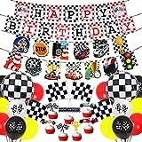 Fangleland Rennwagen Geburtstagsfeier Dekorationen Set Racing Geburtstagsbanner Karierte Flaggen Luftballons für Kinder Jungen Racing Geburtstagsfeier Zubehör