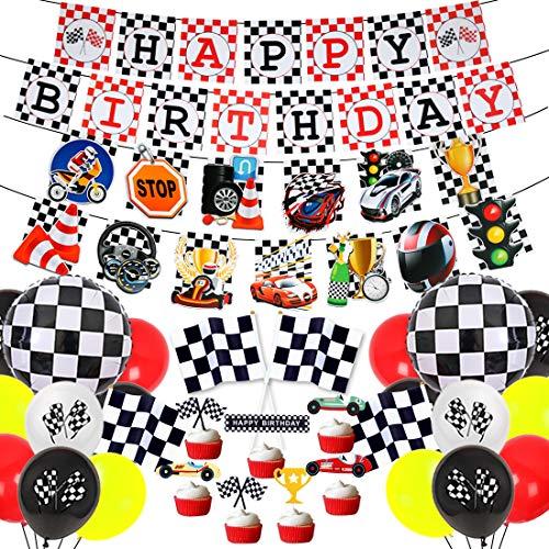 Fangleland Set de Decoraciones de Fiesta de cumpleaños de Race Car Banner de cumpleaños de Carreras Banderas a Cuadros Globos para niños Niños Suministros de Fiesta de cumpleaños de Racing