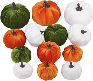 Winlyn 13 Pcs Assorted Mini Velvet Pumpkins Green Orange White Pumpkins for Halloween, Fall Thanksgiving Decorating Harves...
