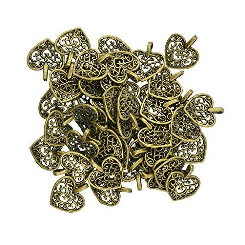 Colcolo 50 Piezas de Bronce Antiguo Hueco Corazón Encantos Colgantes Joyería de Bricolaje