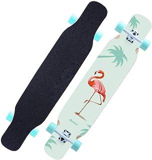 WRISCG Longboard Skateboard Tabla Completa, Drop-Through Freeride Skate Cruiser Boards, rodamientos de Bolas ABEC-11 Alta velicidad, 80A PU Rueda, 8 Capas Madera Arce, Múltiples Estilos