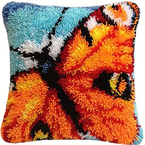Latch Hook Alfombra Kits Animal Latch Hook Kit Funda De Almohada Hecha A Mano Funda De Cojín DIY Costura Regalos,Butterfly,50x50cm/20x20inch