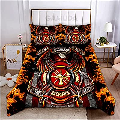 Personalized Bedding Set - Heroes are Courage Sacrifice Honor Firefighter with Pillow Cover - Duvet Cover - Flat Sheet 3 or 4 Pieces, Size Twin Full Queen King