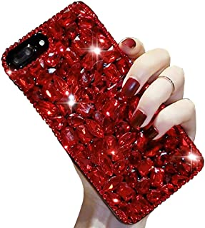 For iPhone 7 Plus/8 Plus Cute Sparkle Jewels Case,Aearl TPU Soft Luxury 3D Handmade Crystal Rhinestone Bling Full Diamond Glitter Shinning Cover with Screen Protector for iPhone 8 Plus/7 Plus - Red