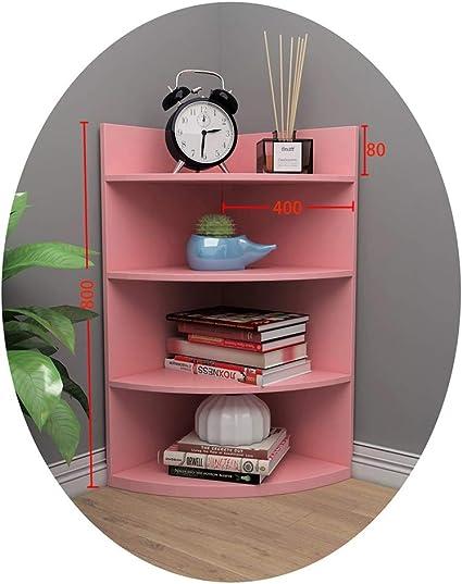 Bookshelf Dd Storage Corner Bookcase Wooden Corner 4 Tier Storage Shelf Unit Triangle Cabinet Desktop Organizer For Living Room Office Color Pink Amazon Co Uk Kitchen Home