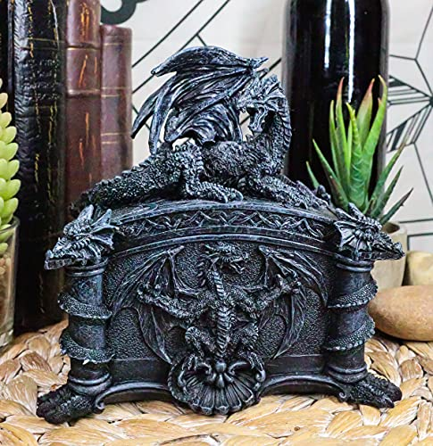 Ebros Gift Celtic Knotwork Grave Tomb Mythical Roaring Fire Dragon Decorative Trinket Jewelry Box Figurine 6.25' Long Medieval Renaissance Winged Alchemy Dungeons Dragons Decorative Statue