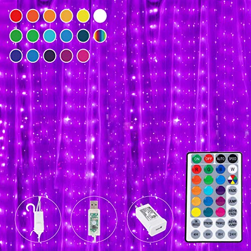 16 Colors Changing Curtain Lights, 300 LED 9.8 X 8.8 Feet Lighted, 7 Modes with Remote, Backdrop Wall Window Hanging Dripping Twinkle Fairy String Lights for Bedroom Dorm Party Valentine's Day Decor