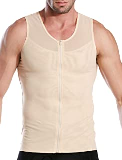 HÖTER Mens Slimming Body Shaper Vest/T-Shirt Zipper