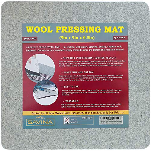 "Small Wool Pressing Mat for Quilting 9"" x 9"" - 100% Felted Wool Ironing Pad for Quilter by Savina - Travel Size - Perfect Gifts for Sewing, Embroidery & DIY Crafts."