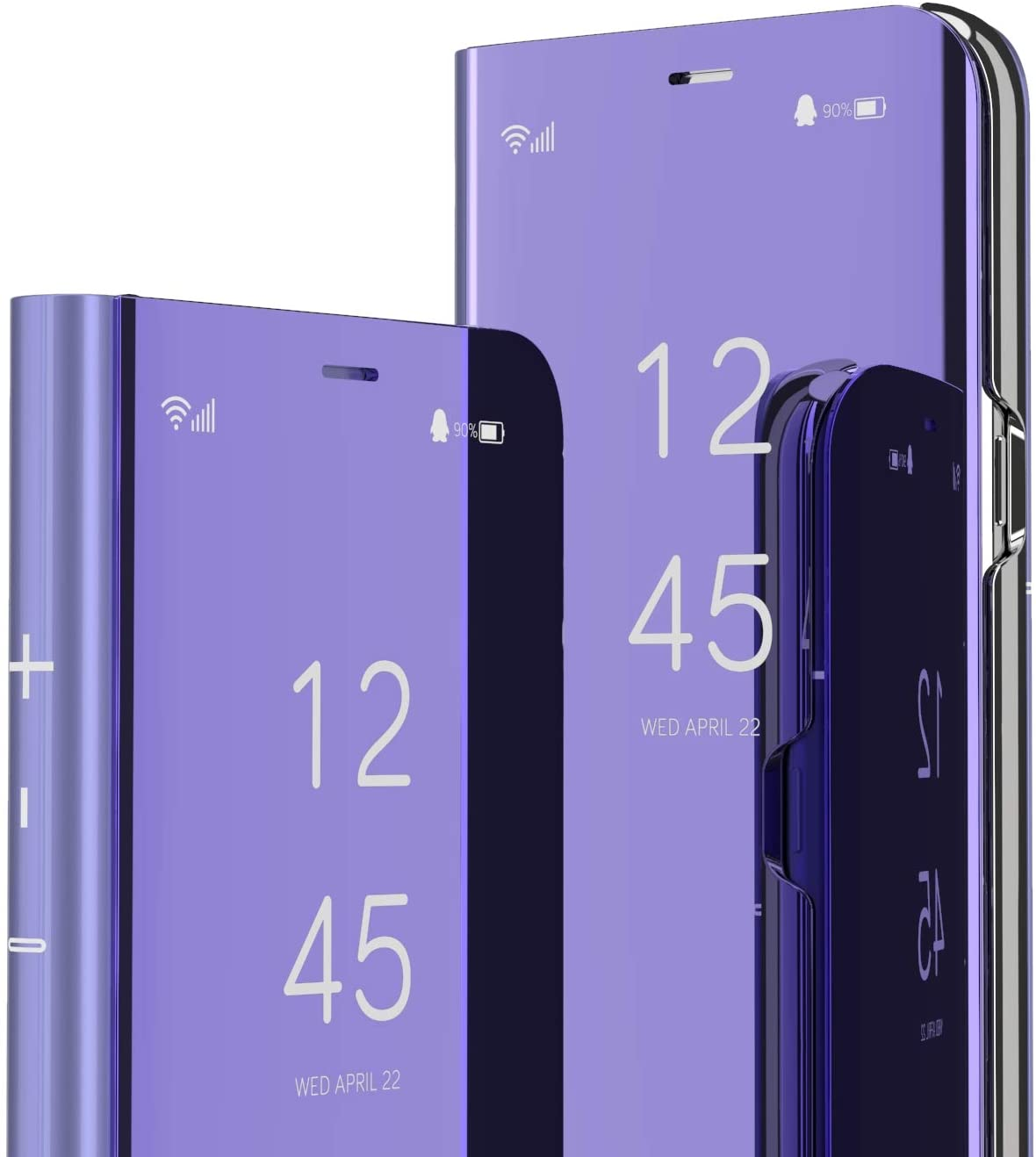 LEMAXELERS Samsung Galaxy S21 Ultra Case Slim Mirror Design Clear View Flip Bookstyle Ultra Slim Protecter Shell with Kickstand Protective Cover for Samsung Galaxy S21 Ultra Mirror PU PU Purple