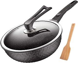Yjdr Chef Classic Wok Pan avec couvercle Premium et Bonus Bamboo Spatule-Stick Surface -Micro Scratch-résistant, Spécialit...