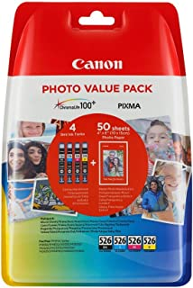 Canon CLI-526 Value 4 Ink Pack - CMYK Inks Plus Free Photo Paper