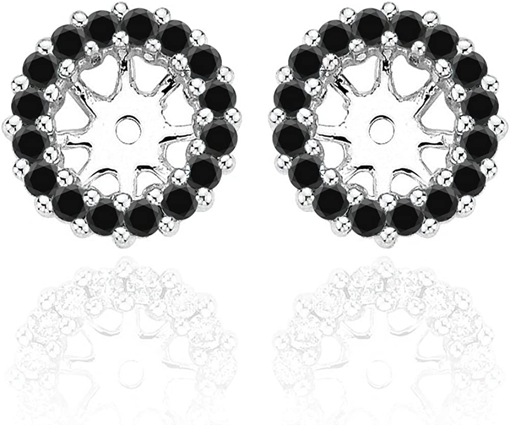 0.30 Carat Black Diamond Earrings Jackets For 5MM(1.00 Carat Total Weight) 14K White Gold Halo Stud Solitaire