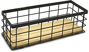 JOYJOO Metal Storage Basket with Wood Base, Decorative Baskets for Home Storage, Wire Basket for Organizing Small Tableware Black
