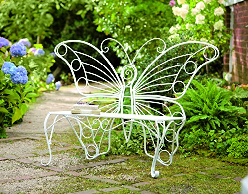 Plow & Hearth Weather-Resistant Butterfly Garden Bench, Metal - White - 60¼'L x 17¾'D x 39½'H