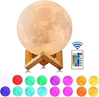 Moon Lamp, Guteauto 5.9 inch 16 Colors LED 3D Print Moon Light with Stand & Touch Control and USB Rechargeable, Moon Light Lamps for Kid Friends Lover Birthday Valentine's Gift