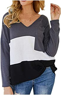 Lataw Women Sweatshirt Fashoin Tops Long Sleeve Blouse Lace V-Neck Cotton Comfort T-Shirt Fall Patchwork Tee Costume Tunic