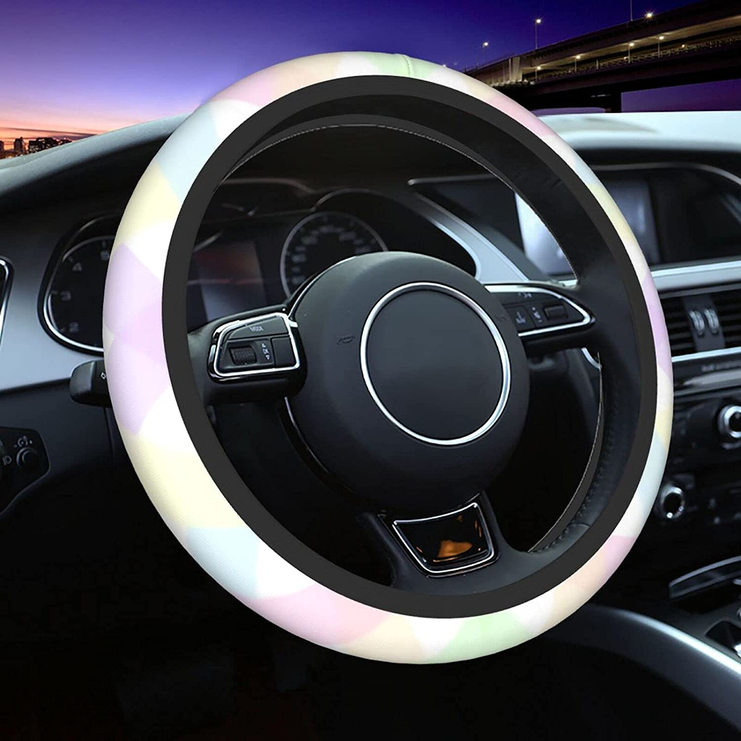 Genuine Free Shipping Beauty products Pastel Plaid Steering Wheel Auto Universal Cover 15Inch