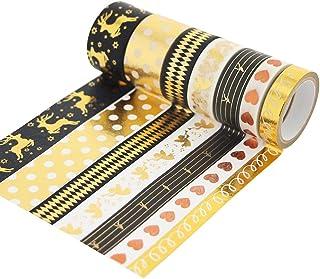 Hot Black Gold Washi Tape Set Gold Foil Print Decorative Tapes for Arts, DIY Crafts, Bullet Journals, Lipstick Sticking to...