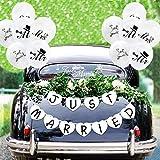CNNIK Just Married Etiqueta de la Ventana del Coche & Just Married Banner & Just Married/Mr/Mrs Globos para Boda Luna de Miel Decoración del Coche Recién Casados Regalo de Boda