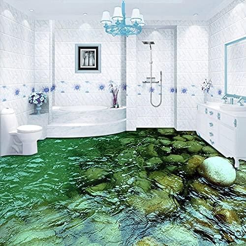 Papel pintado de vinilo para suelo 3D personalizado, paisaje natural, piedra, agua, baño, cocina, pegatina para suelo, pintura, PVC, papel tapiz impermeable-150x105cm
