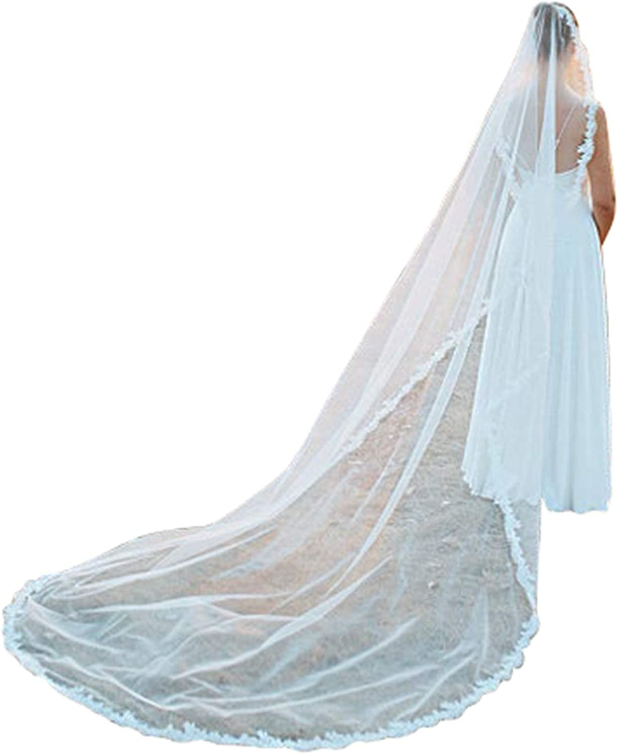 Lace Wedding Veils for Brides 1 Tier Ivory Cathedral Length with Comb