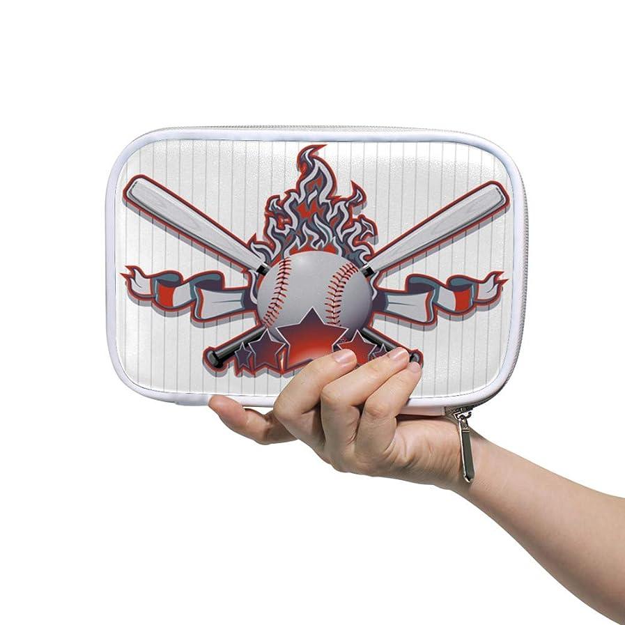 主流考慮彫るZHIMI 化粧ポーチ メイクポーチ レディース コンパクト 防水 柔らかい おしゃれ 化粧品収納バッグ コスメケース 野球柄 機能的 軽量 小物入れ 出張 海外旅行グッズ パスポートケースとしても適用