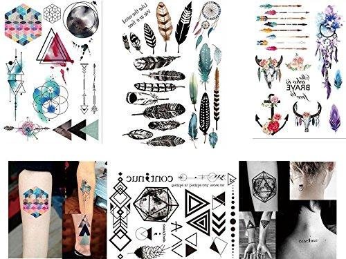4 Bögen temporäre Tattoos - Flash Tattoos Set2 - geometrische Linien/Wasserfarben/Traumfänger