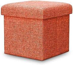 Yxsdd Storage Stool Storage Bag Upholstered Footstool Footrest Linen Fabric Folding Cushion Make-up Seat Seat Cushion for ...