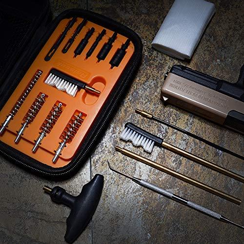Raiseek Handgun Cleaning kit .22.357.38,9mm.45 Caliber Pistol Cleaning Kit Brush and Jag with 50 pcs Gun Cleaning Patches in Zippered Organizer Compact Case