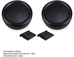 2 Pack X Mount Body Cap Cover & Rear Lens Cap for Fuji Fujifilm X-T3 X-T2 X-T1 X-T30 X-T20 X-T10 X-H1 X-PRO2 X-PRO1 X-E3 X-E2S X-E2 X-E1 X-A7 X-A5 X-A3 X-M1 and More Fujifilm X Mount Camera and Lens