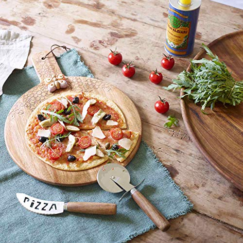 THUN ® - Set con Coltello e Rotella Taglia Pizza con Confezione a Libro - Linea Country - Acciaio Inox, Legno d'Acacia