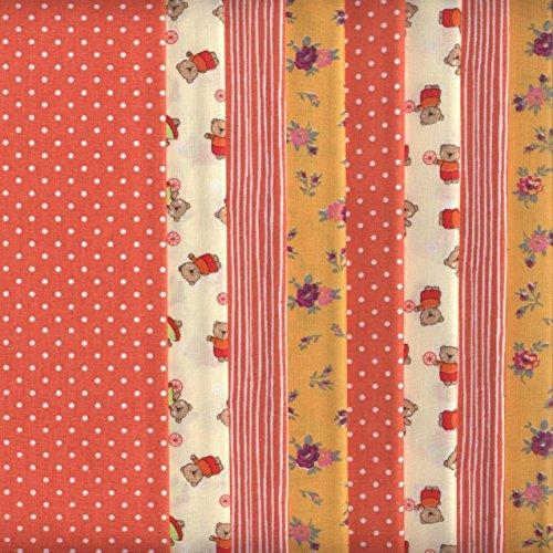 Textiles français Set de Telas - 8 Telas (Mandarina) - colección de Telas de coordinación (pequeños diseños) - 4 diseños (x2)   100% algodón   46 x 56 cm