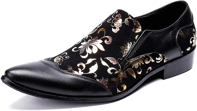 Rui Landed Oxford Für Mnner Formale Schuhe Auf Stil Hochwertigem Echtem Leder Gold Stickerei Mode Nhen Nachtclub (Farbe   Schwarz, Gre   40 EU)