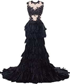 Heartgown Women's Sheer Lace Feather Ruffles Sweep Train Organza Gothic Wedding Dress