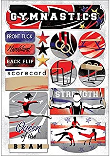 KAREN FOSTER 11590 Design Acid and Lignin Free Scrapbooking Sticker Sheet, I Love Gymnastics
