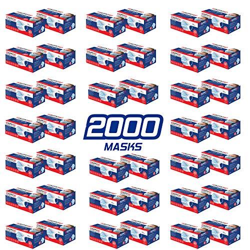 SupplyAID CS-RRS-DFM-50PK Bulk Case of Disposable 3-Layer Face Mask, 50-Count/Box, 40 Boxes/Case (2,000-Masks)