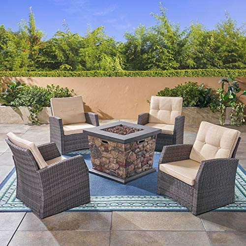 5pc Beige and Charcoal Gray Contemporary Outdoor Patio Fire Pit Set 30'