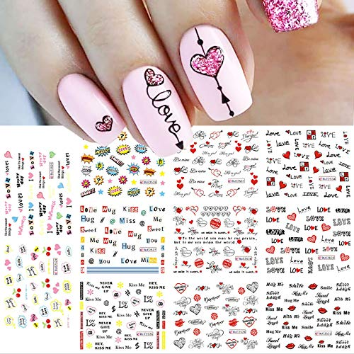 11 Sheets Valentine's Day Nail Art Stickers Water Transfer Colorful Love Heart Sexy Lips Word Kiss Hug Nail Sliders Design For Women Girls Dating Nail Supplies Beauty Accessories