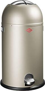 WESCO Kickmaster - Papelera de Acero a Pedal (33 L, con Recubrimiento electrostático), Color Plateado