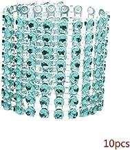 LafyHo 10pcs Napkin Ring 8 Row Rhinestone Like Napkin Band PP napkin ring Serviette Holder Hotel Wedding Banquet Decorations Lake blue